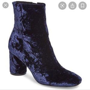 BRAND NEW Marc Fisher blue velvet boots